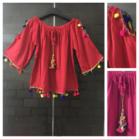 Pretty Red On - Off Shoulder- Arm Revealing Top with Multicolor pom-poms