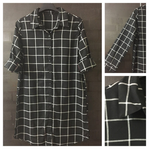 Checks - Shirtdress Black and White with full front buttons
