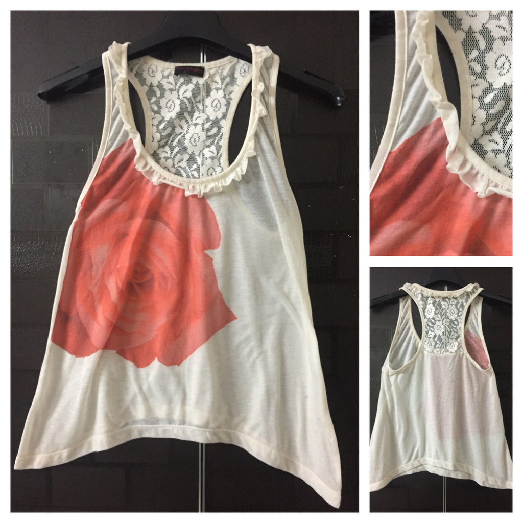 1 Flower Cream Racer Back top with lace
