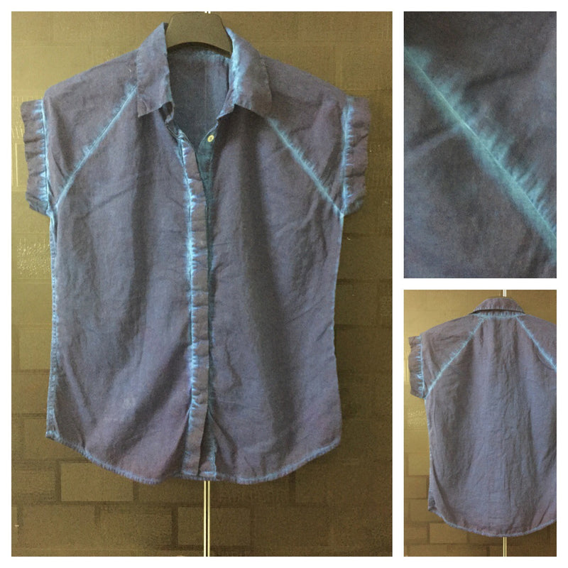 Acid washed Blue Denim Colored Cotton Shirt