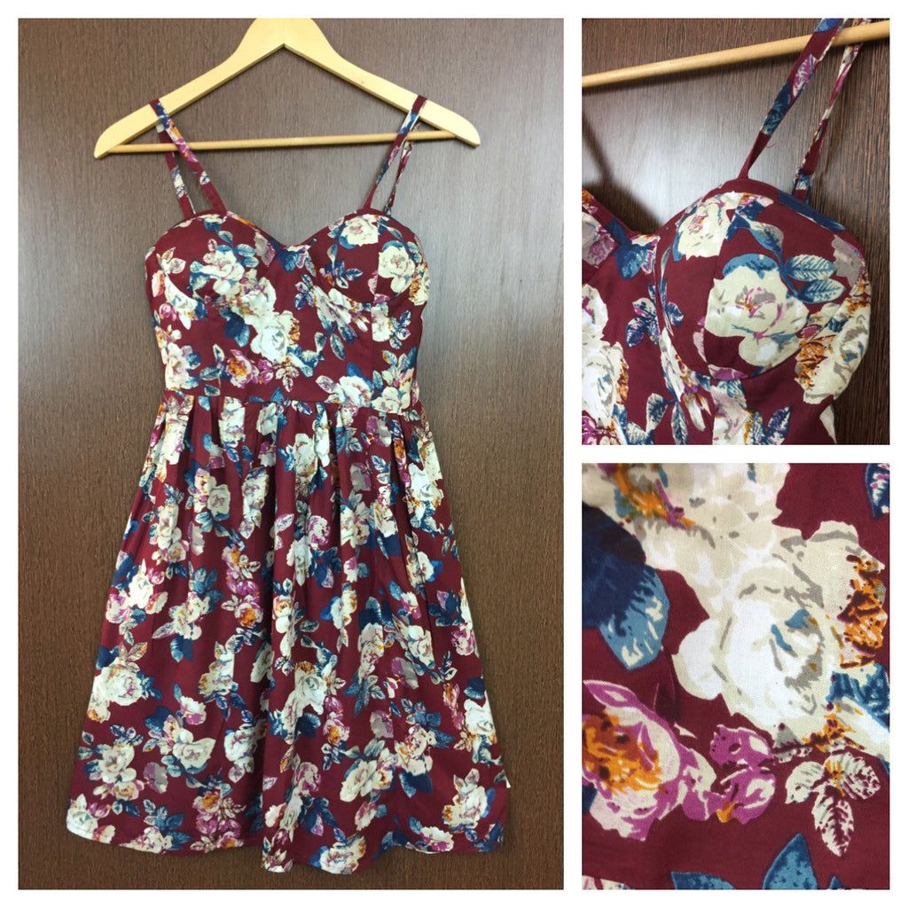 White Pink - Blue Flowers On Maroon Printed Spaghetti Dress with adjustable straps