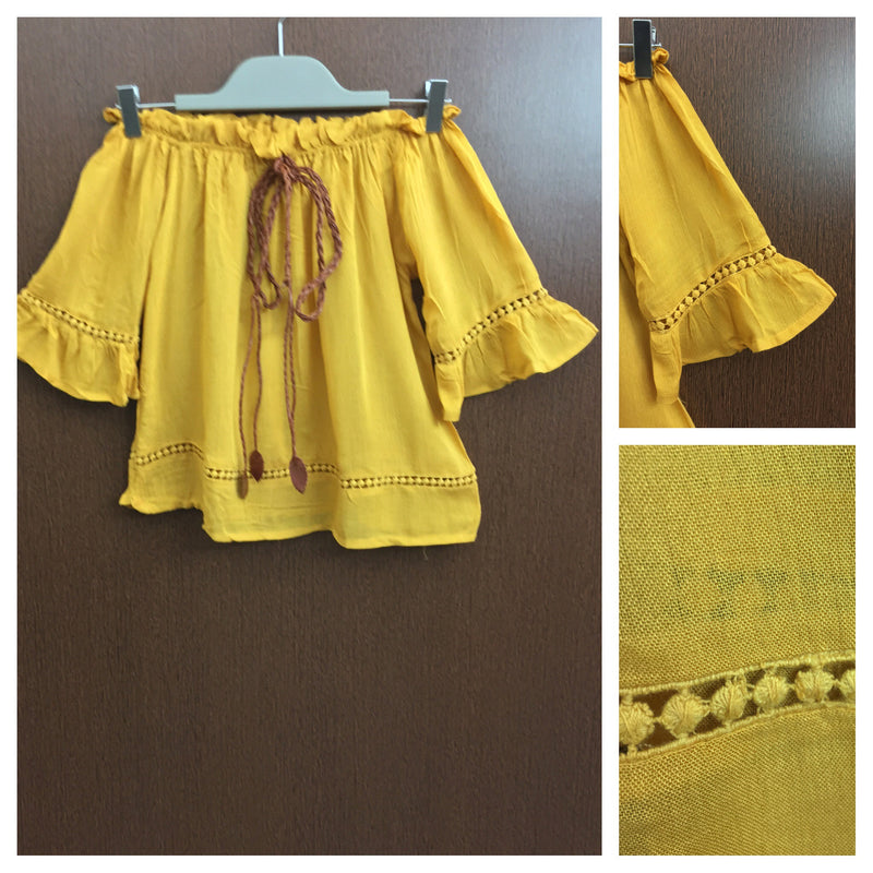 Front Tie - Plain Mustard Yellow On - Off Shoulder Top With Little Cut- Work
