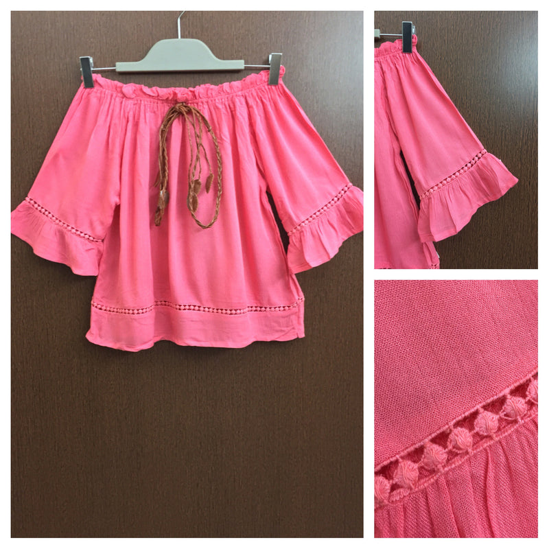 Front Tie - Plain Pink On - Off Shoulder Top With Little Cut- Work