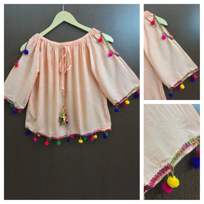 Pretty Peach On - Off Shoulder - Arm Revealing Top With Multicolor Pom-Poms