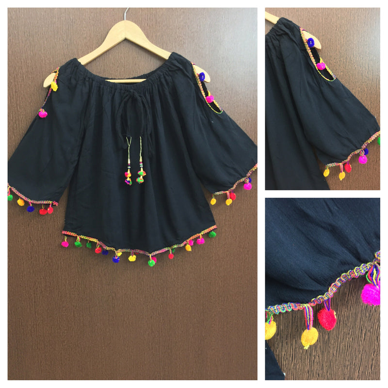 Pretty Black On - Off Shoulder - Arm Revealing Top With Multicolor Pom-Poms