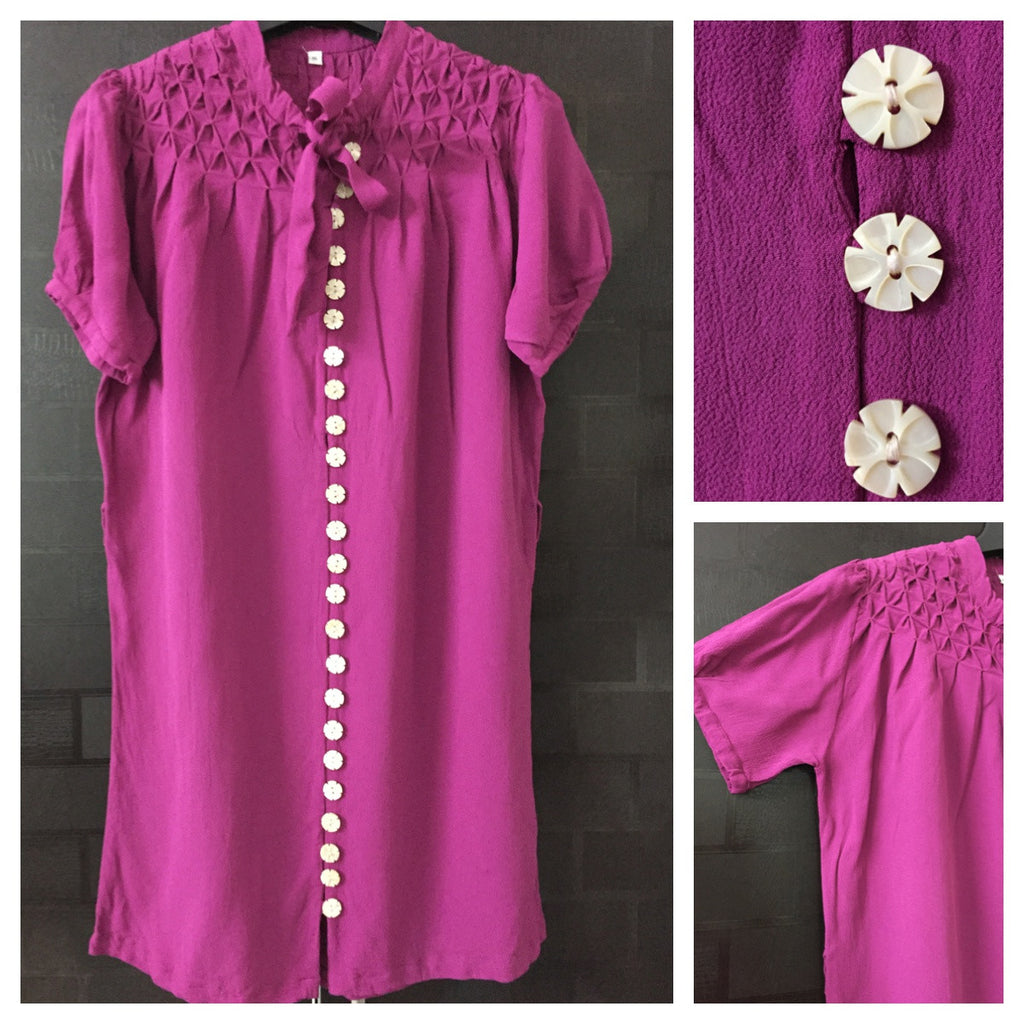 Mauve Front Buttoned Dress with bow