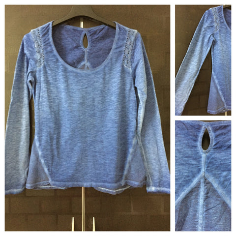 Washed Out Blue Casual Top with translucent back