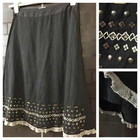 Casual Black Skirt with sequins at bottom