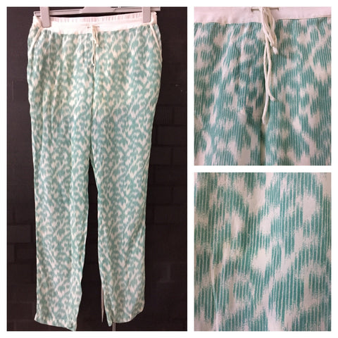 Printed Green-Cream Casual Lowers