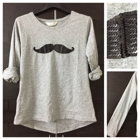 Mustache - Black Dots, Grey Full Sleeves Tee with Black Sequin