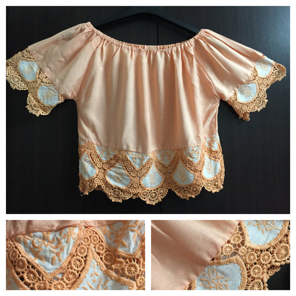 Beautiful Off - Shoulder Crop Top - Peach - #FTFY - For The Fun Years