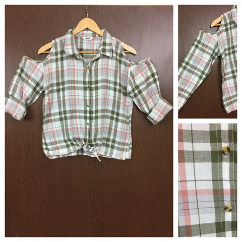 Checked Cold - Shoulder - Green, White and Pink Check Shirt with front knot