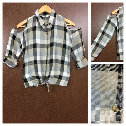 Checked Cold - Shoulder - Grey, Black and White Check Shirt with front knot