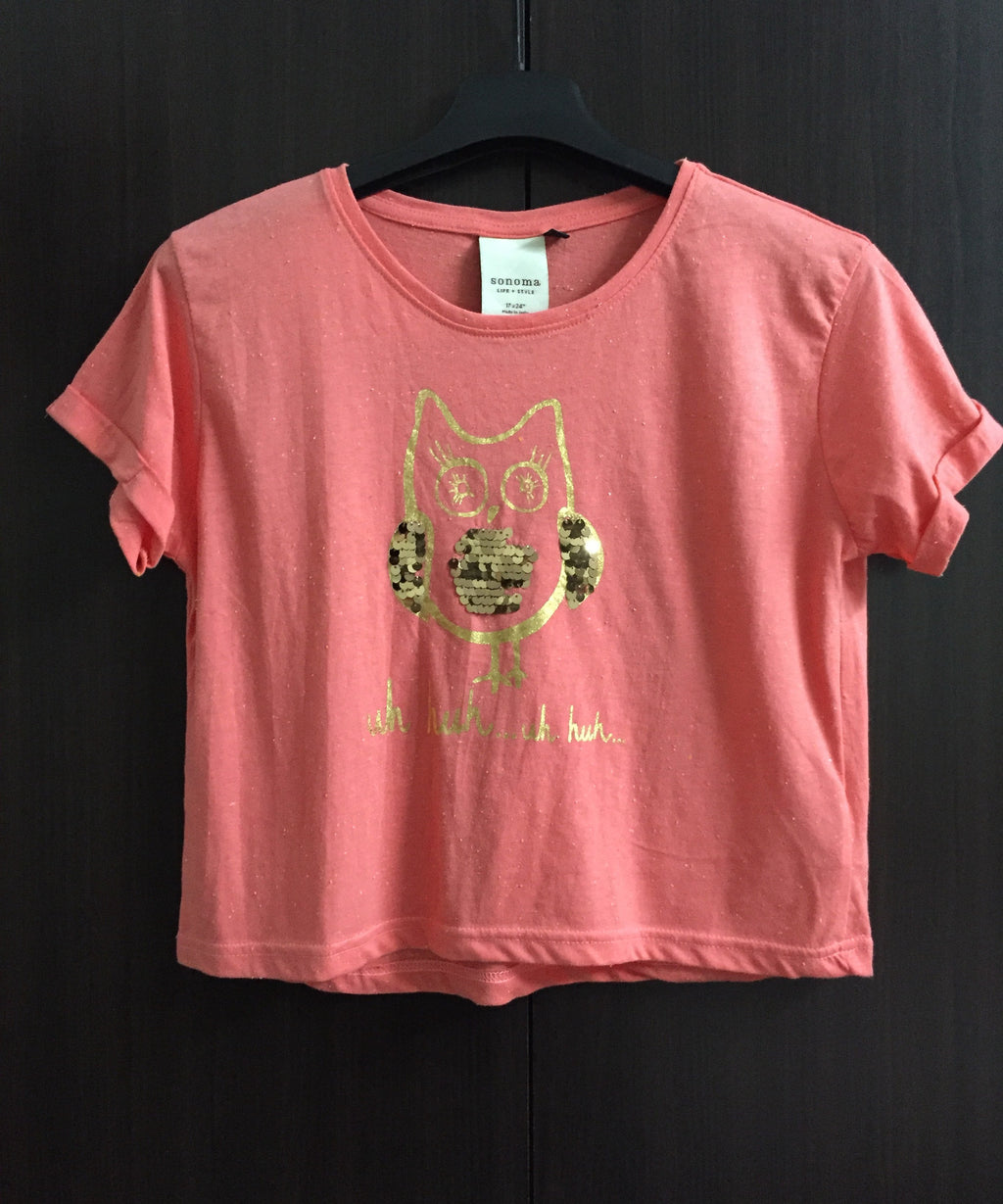 Golden Owl Sequin Short/Crop Tee