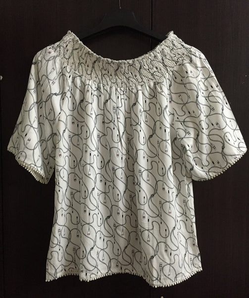 Printed Off Shoulder Top - White Oars