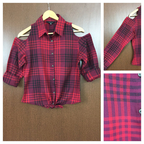 Checked Cold - Shoulder - Dark Light Red and Black Check Shirt with front knot