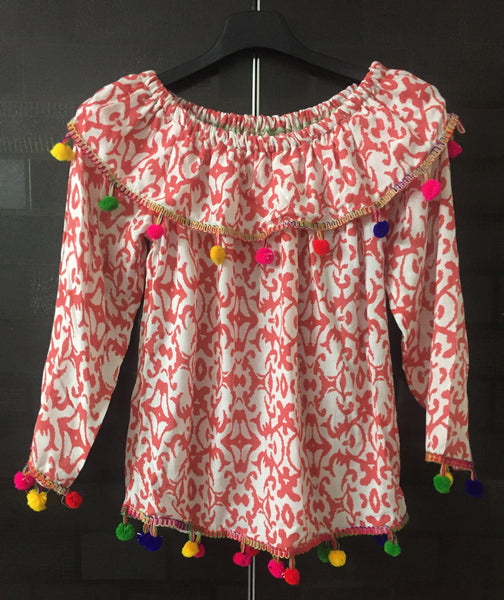 Colorful Pom-Poms, Printed Pink and White On-Off Shoulder Top