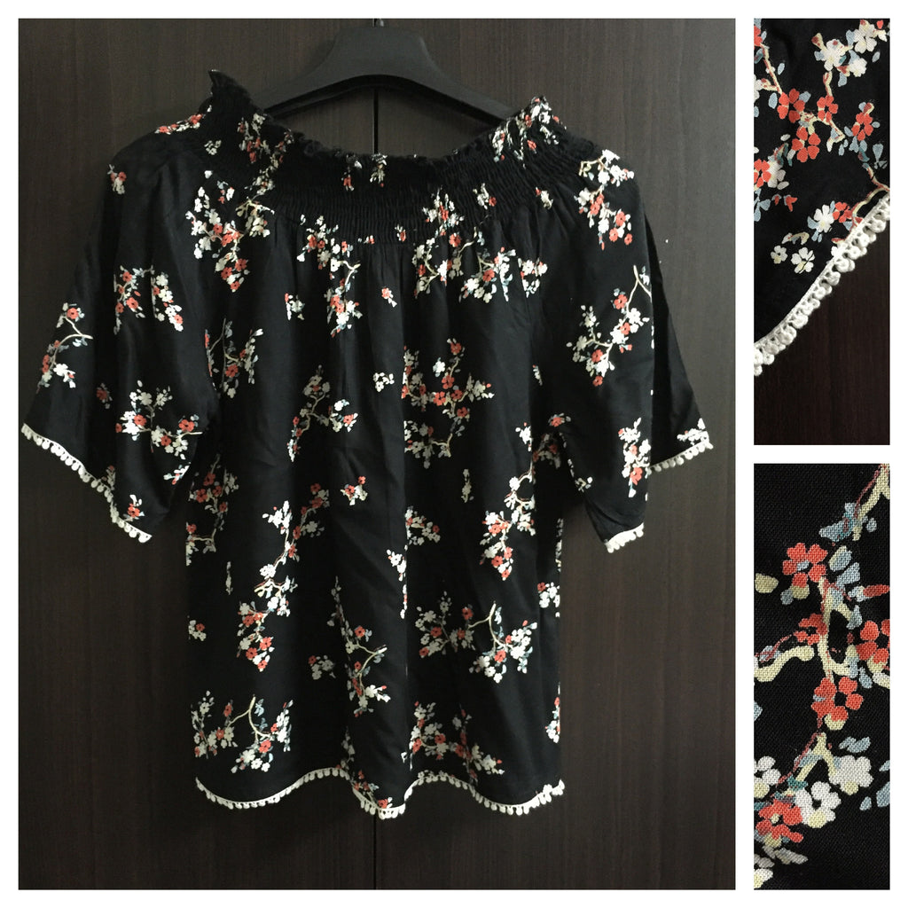 Printed Off Shoulder Top - Black Floral