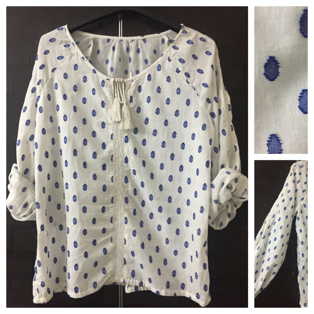 Comfy Fit, White Casual Top with Blue Thread work