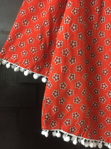 Beautiful Orange Flowers Printed Cold - Shoulder Top with Pom Poms