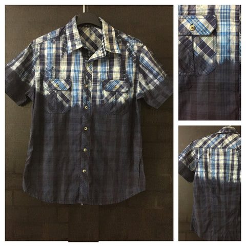 All Shades of Blue - Acid Washed Look Check Shirt