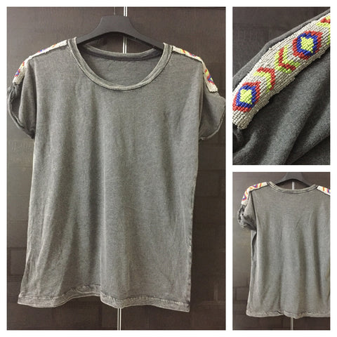 Multicolor beads on Shoulders - casual Grey Tee