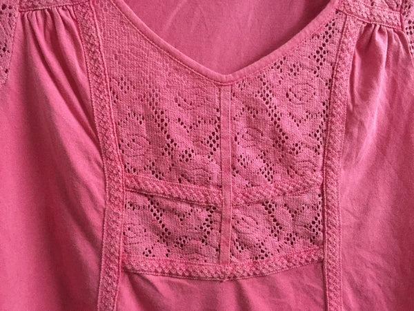Pink Top with Net on Neck, Shoulders & Front