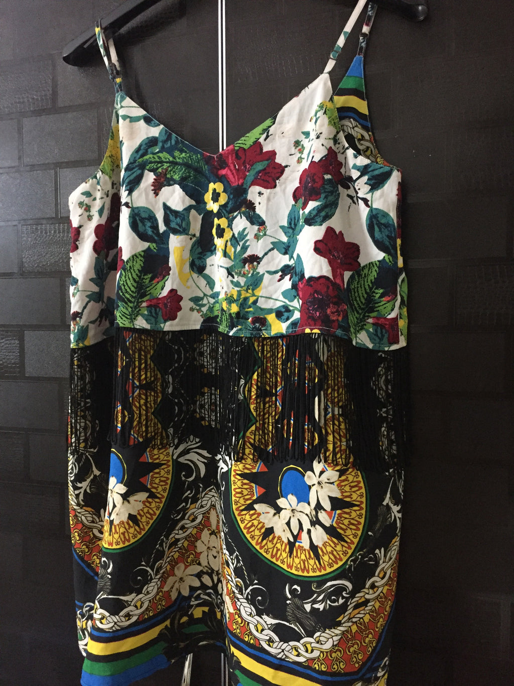 Printed Floral, front layered and tasseled Spaghetti Top