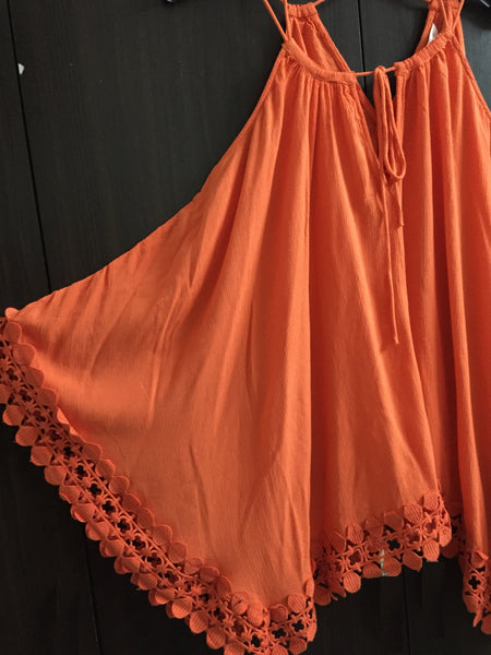 Orange Poncho Style Top.