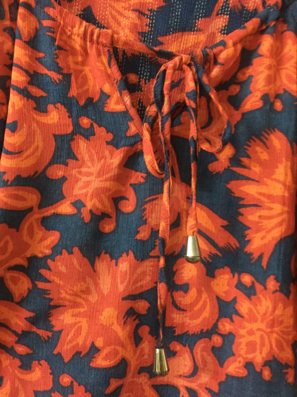 Laced - Arm exposing - Front Tie - Red-Orange Flowers on Blue Top