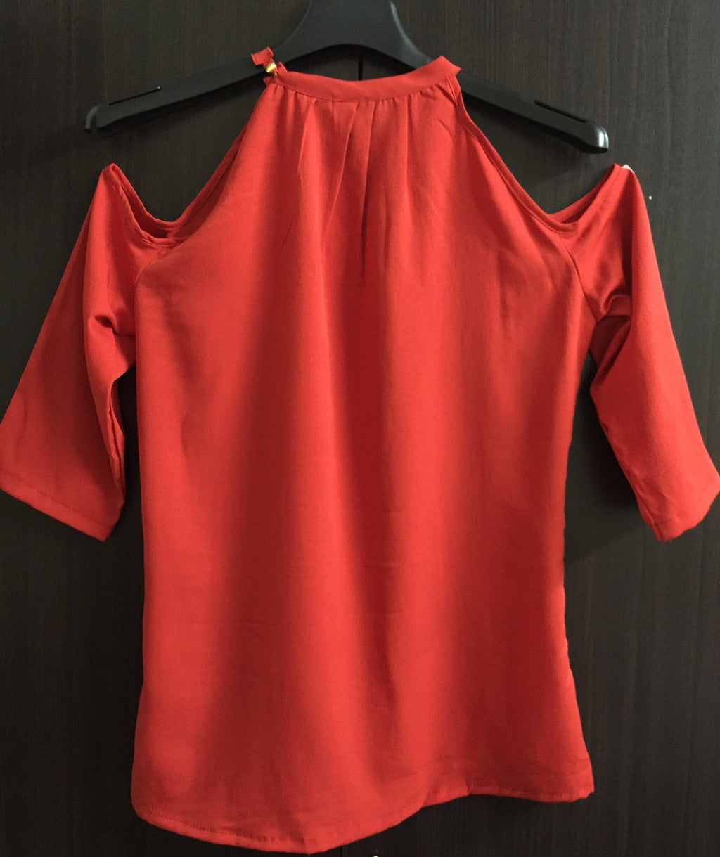 Stylish Cold Shoulder Top - Red