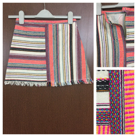 Woven Multicolor Stripes Skirt with Back Zipper