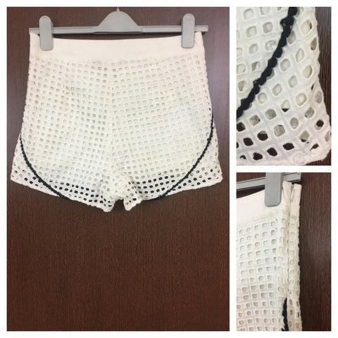 Off White - Square Cut out Shorts with Black Design