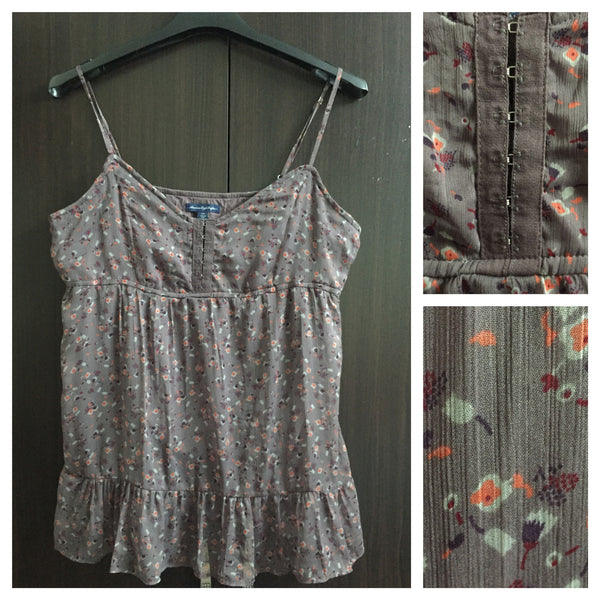 Grey Spaghetti Top with Little orange flowers - #FTFY - For The Fun Years