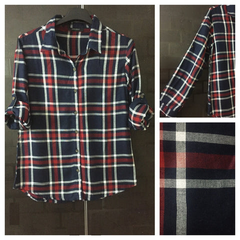 Checks - Navy Blue, Maroon and White Shirt