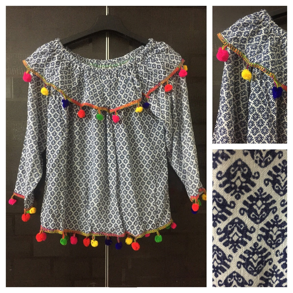 Colorful Pom-Poms, Geometric Prints Blue and White On-Off Shoulder Top