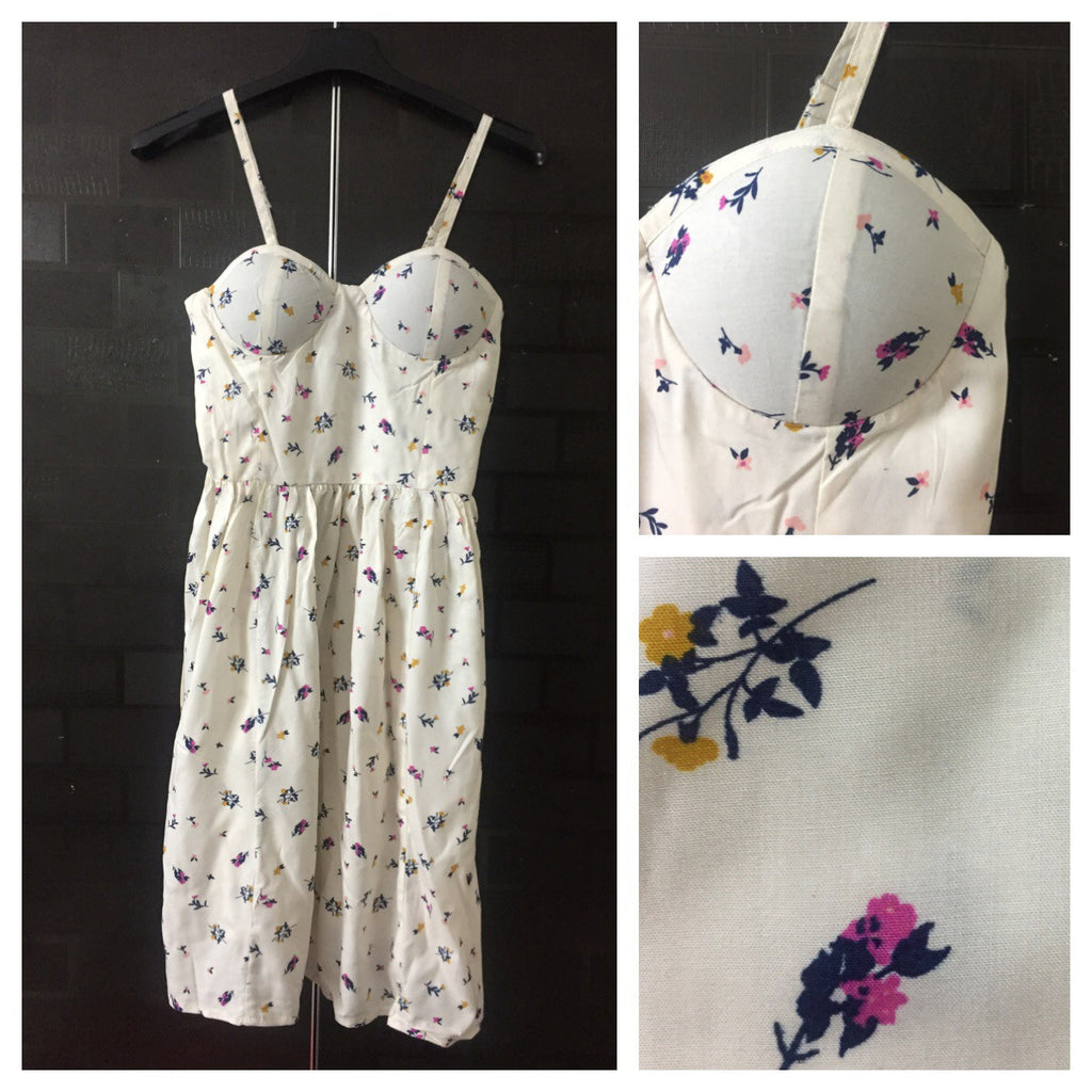 Little flowers on Cream Spaghetti Dress with adjustable straps
