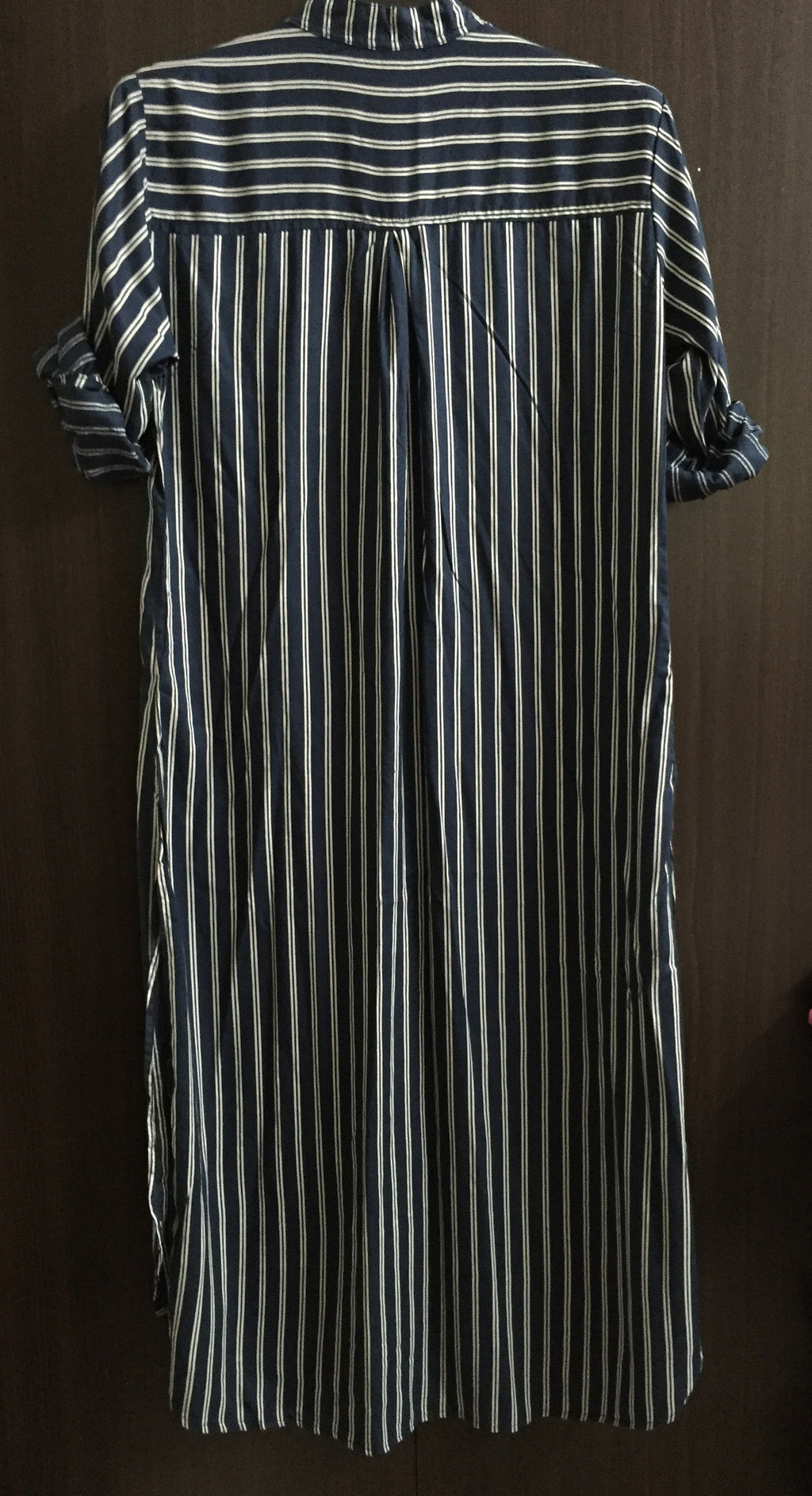 Shirtdress - Cream Double stripes on Blue Shirtdress