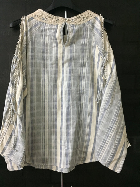 Comfort Fit, Arm revealing, Grey - Cream Stripes Top