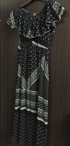 Maxi Dress with Side slits - Black and White