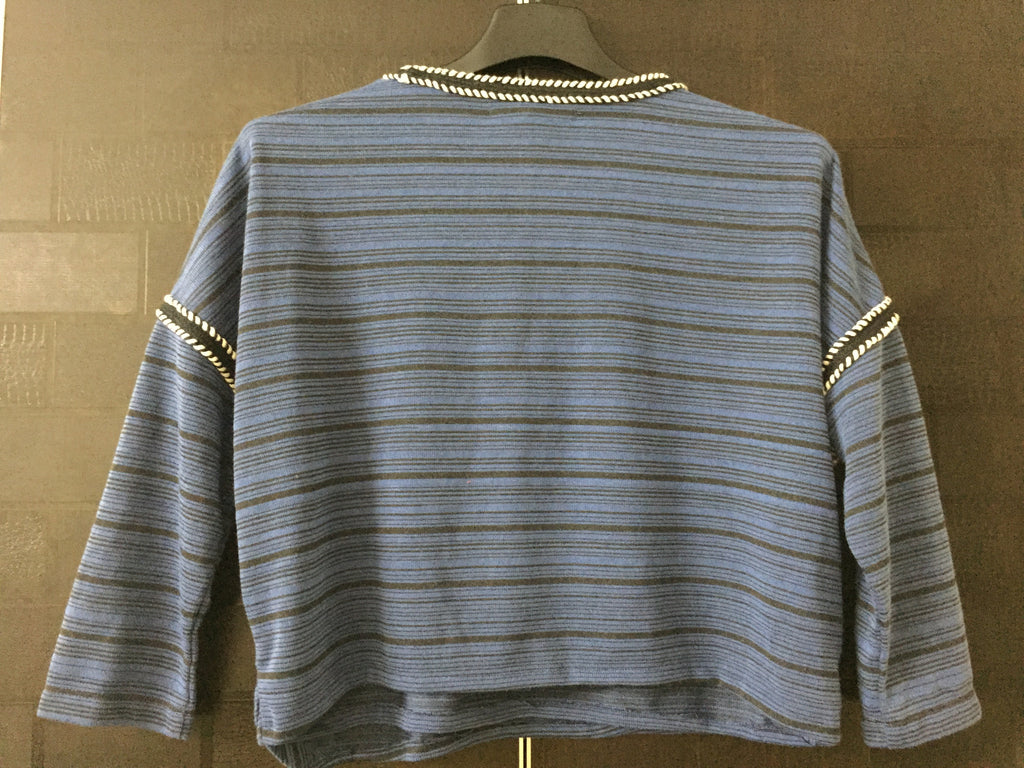 Little Warm - Drooping Shoulders - Blue and Black Stripes Top