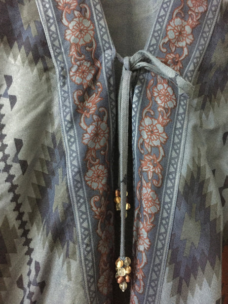Tribal Printed Blue Shrug with front - tie