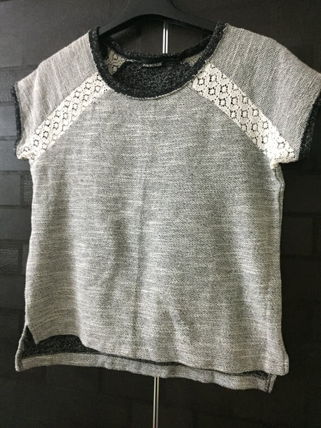 Little Warm - Grey and Black Top with lace