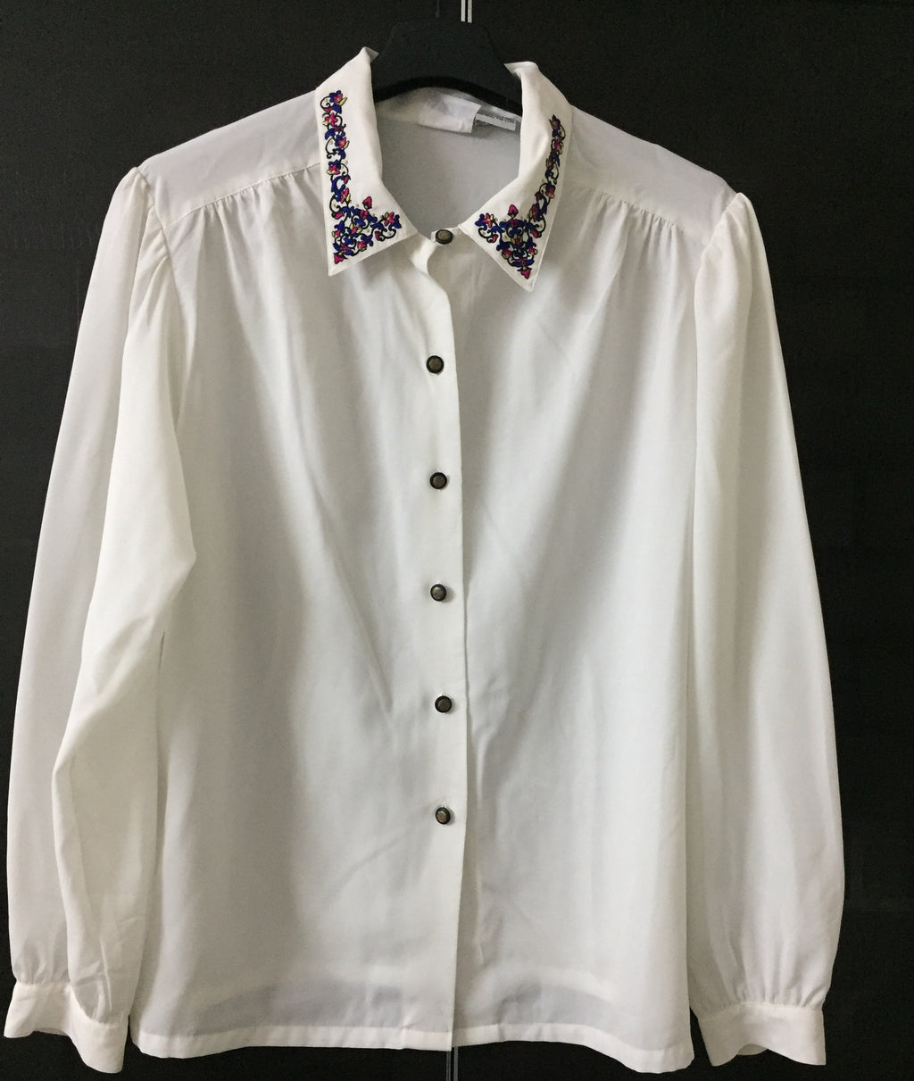 White Shirt with Blue - Pink embroidery on collars