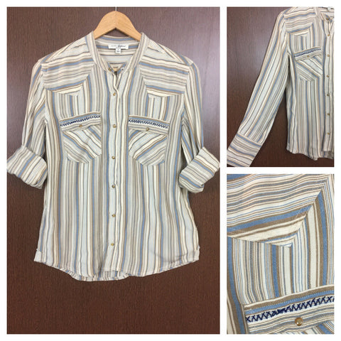 Blue Threaded Casual Striped Shirt