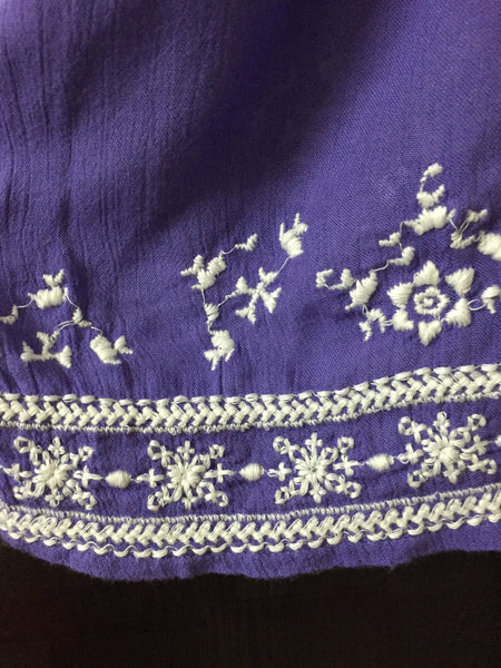 The Purple Casual Top with White thread work