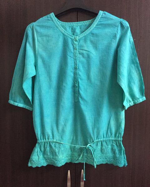 Blue-Green ( Multi-shade) Cotton Top. - #FTFY - For The Fun Years