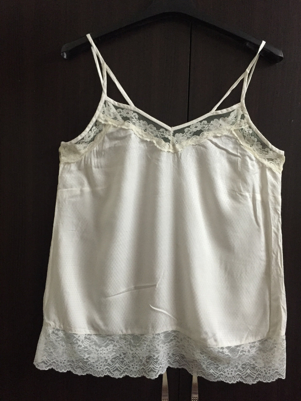 White Lace Spaghetti Top