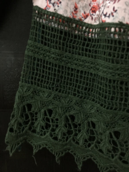 Printed Off Shoulder with Lace - Pink with tiny branches and Green Lace