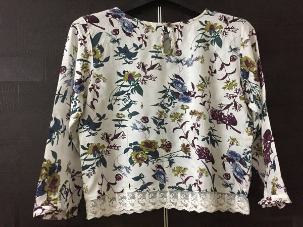 Vibrant Floral White top with lace on waist